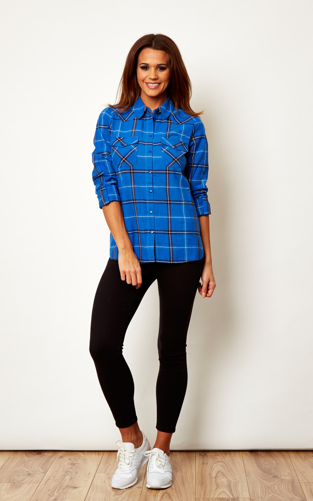 Long Sleeve Checked Blue Shirt by Noisy May