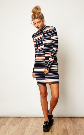 Striped Long Sleeve Roll Neck Dress by VILA Product photo