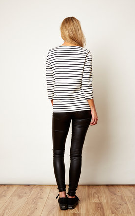 White Lace-up Striped Top by VILA