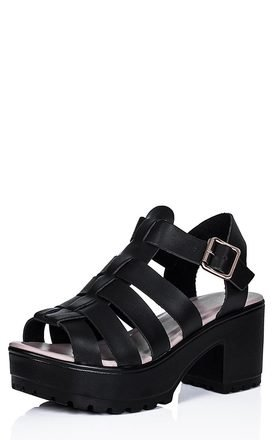 JAMON Heeled Cleated Sole Platform Sandal Shoes - Black Leather Style by SpyLoveBuy