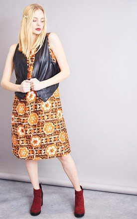 Vintage 70's Boho abstract print psychedelic Mod dress by Lover