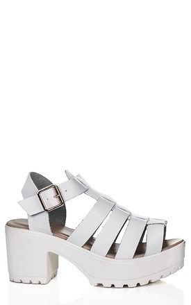 JAMON Heeled Cleated Sole Platform Sandal Shoes - White Leather Style by SpyLoveBuy