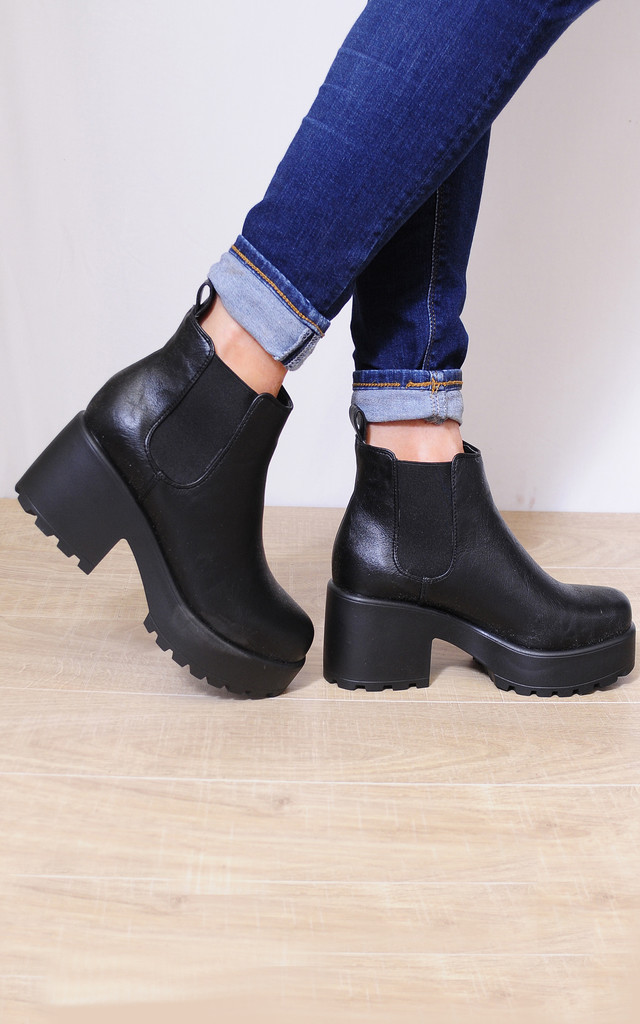 Cleated Chelsea Platform Ankle Boots in Black by Shoe Closet