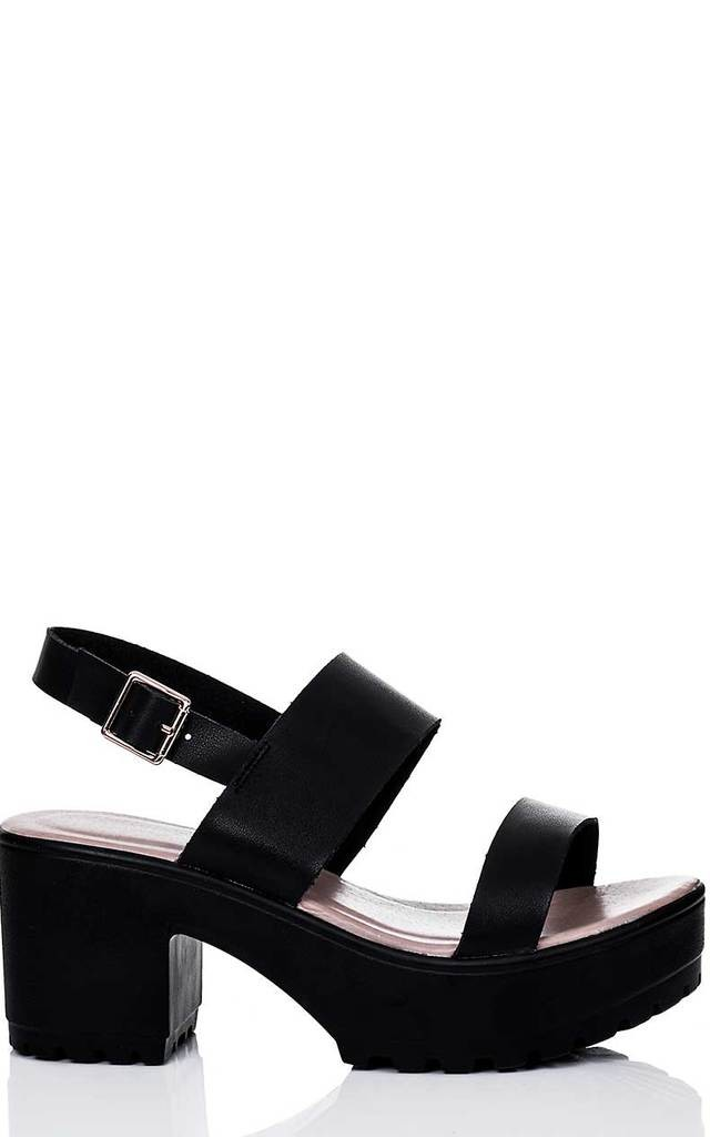 AXE Platform Cleated Sole Block Heel Sandals Shoes - Black Leather Style by SpyLoveBuy