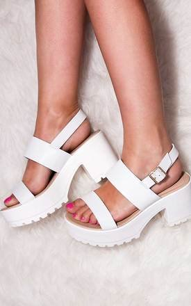 AXE Platform Cleated Sole Block Heel Sandals Shoes - White Leather Style by SpyLoveBuy