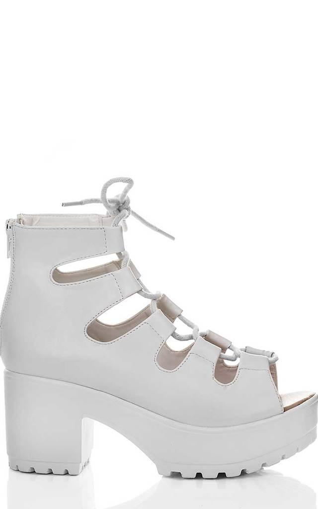 LASER Lace Up Cleated Sole Block Heel Sandals Shoes - White Leather Style by SpyLoveBuy