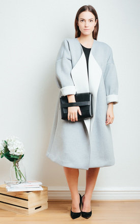 Grey and White Contrast Coat by SIVONNA