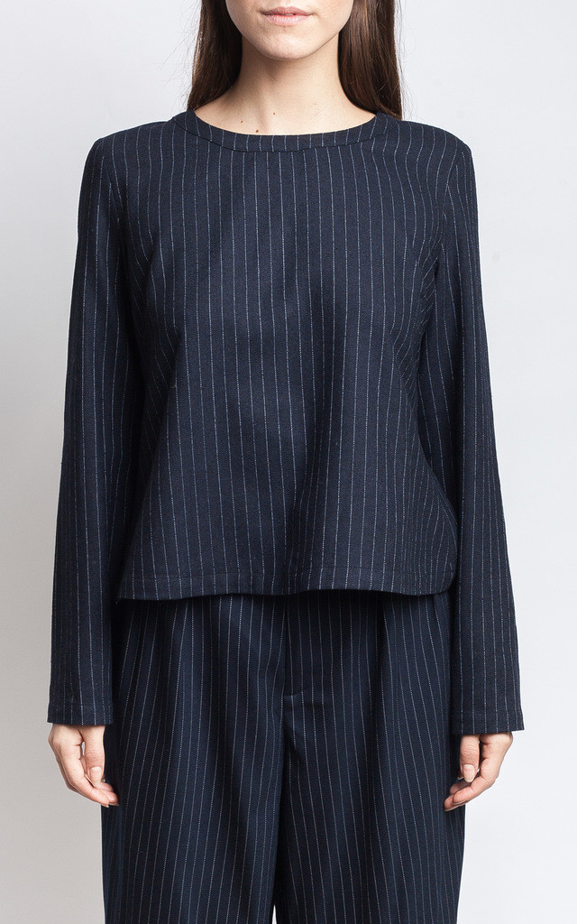 Navy Pinstriped Top by SIVONNA