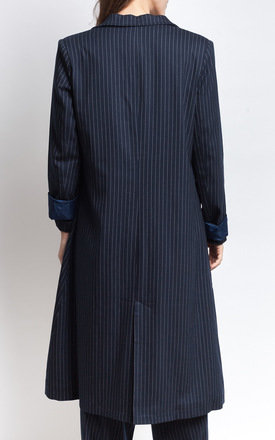 Navy Pinstriped Longline Coat by SIVONNA