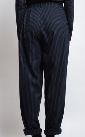 Navy Pinstriped Trousers by SIVÖNNA
