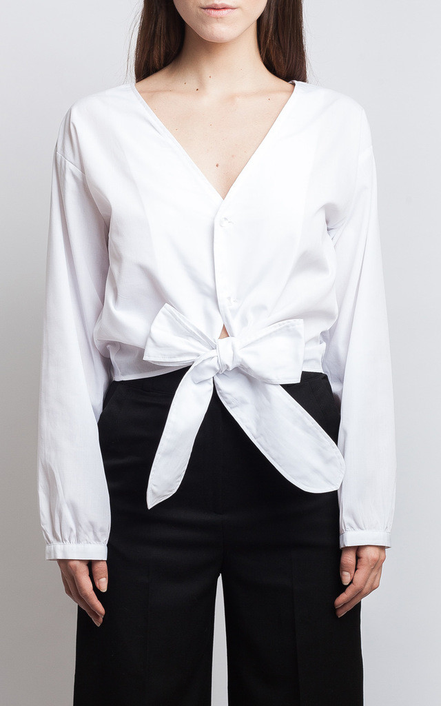 White Knot Front Shirt by SIVONNA