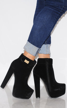 Black Faux Suede Concealed Platforms Ankle Boots by Shoe Closet