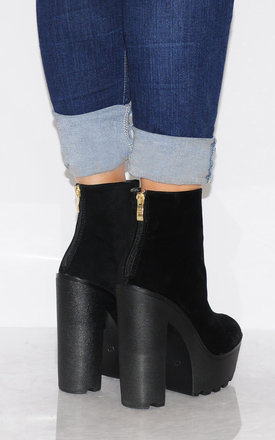 Black Faux Suede Cleated Platforms Ankle Boots by Shoe Closet