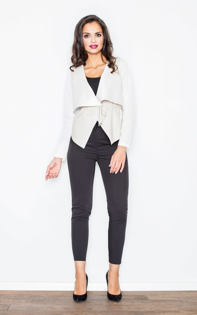 White Asymmetrical Faux Leather Inserts Jacket by FIGL