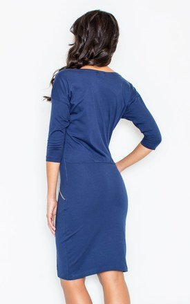 Navy Pencil Dress with Decorative Pockets with Golden Zippers by FIGL