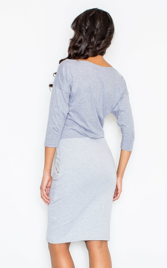 Grey Pencil Dress with Decorative Pockets with Golden Zippers by FIGL
