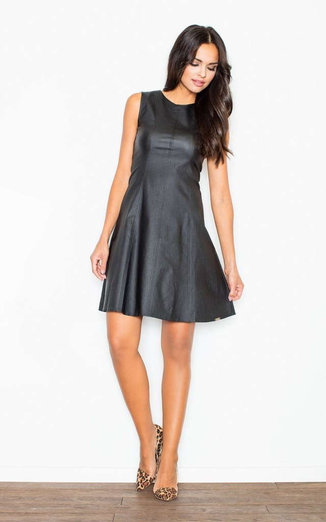 Black Faux Leather Flared Dress by FIGL