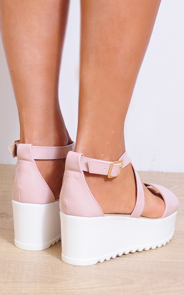 Nude Patent Cleated Wedged Platforms Strappy Sandals by Shoe Closet