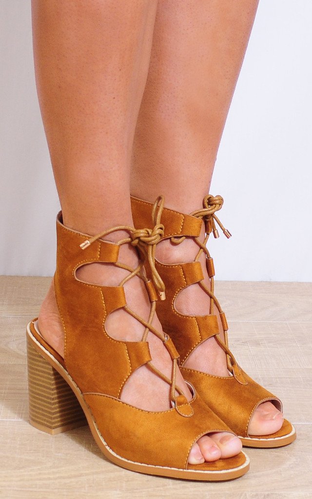 Tan Lace Ups Faux Suede Strappy Sandals High Heels Peep Toes by Shoe Closet
