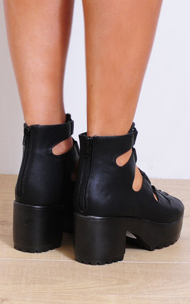 Black Lace Ups Cleated Wedged Platforms Strappy Sandals by Shoe Closet
