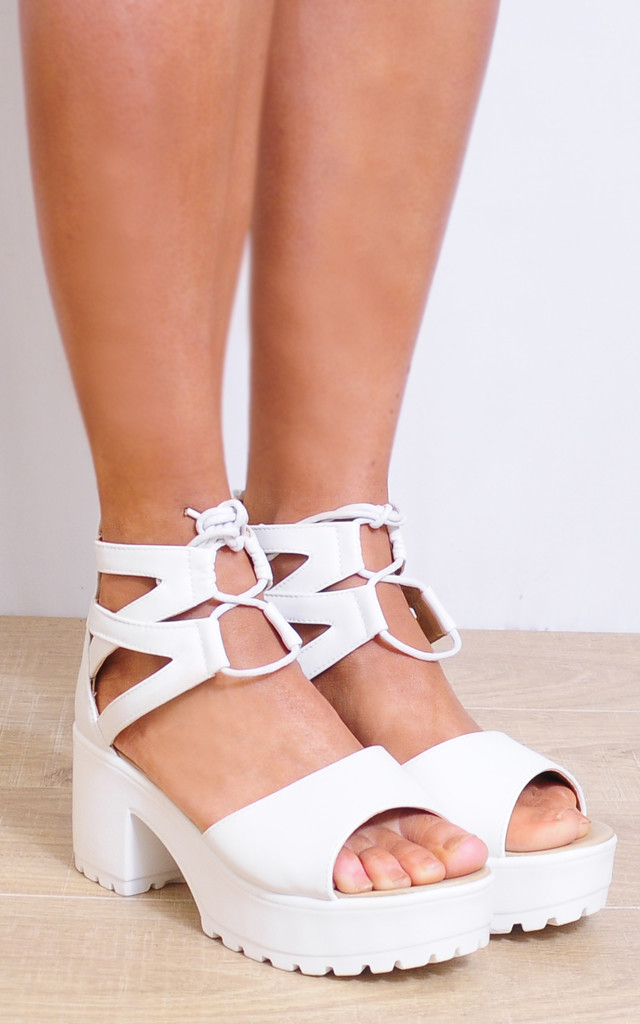 White Lace Ups Cleated Platforms Strappy Sandals by Shoe Closet
