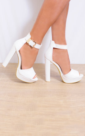 White Faux Leather Ankle Straps High Heels by Shoe Closet