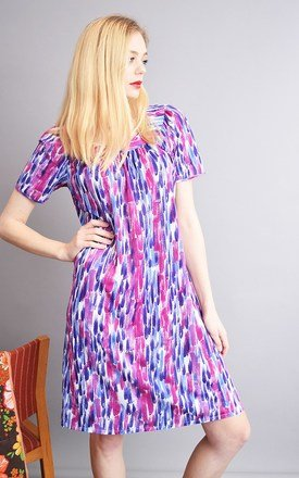 Vintage 70's brush stroke pattern mini loose Mom's dress by Lover