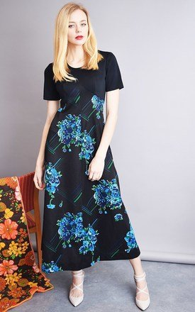 Vintage 70's retro minimalist floral maxi elegant dress by Lover