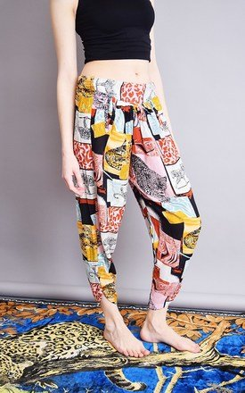 90's abstract leopard pattern loose harem trousers by Lover