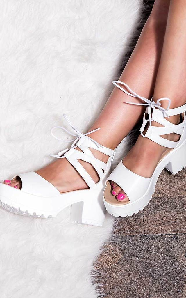 RAVE Lace Up Cleated Sole Block Heel Sandals Shoes - White Leather Style by SpyLoveBuy