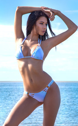 Tropical Temptress Blue Ombre Bikini Top by SasSea Swimwear Product photo