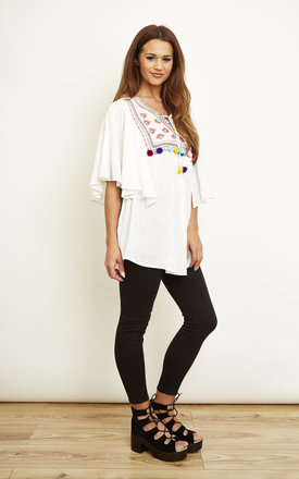 Embroidered Top With Pom Poms by Glamorous