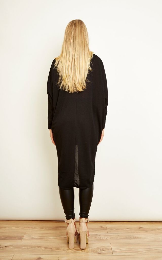 Black Oversized Dipped Hem Top by Bella and Blue