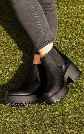 Helixa Cleated Sole Platform Chelsea Ankle Boots   Black Leather Style by SpyLoveBuy Product photo