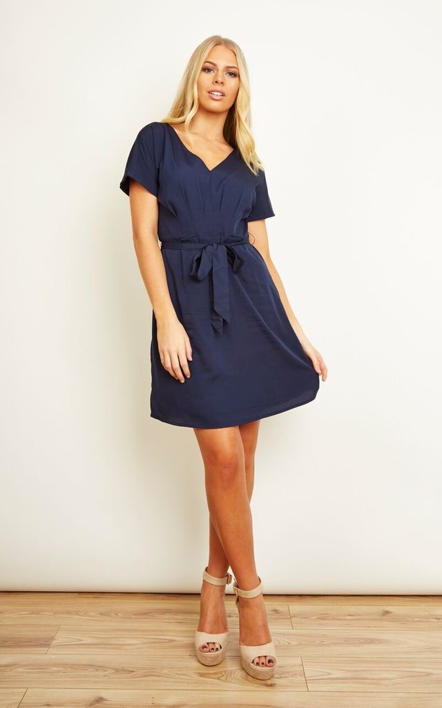 Navy Wrap Tea Dress by VM