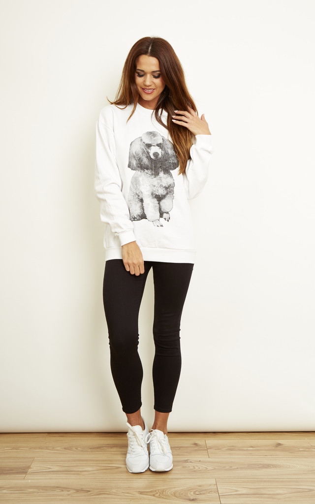 Poodle Sweatshirt in White by We Are Still Bold and Beautiful