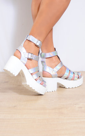 Silver Hologram Cleated Platform Ankle Strap Strappy Sandals by Shoe Closet