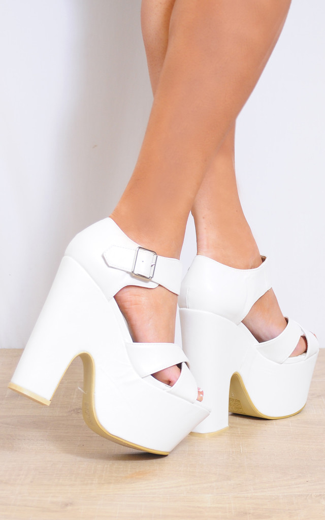 White Wedged Platforms Wedges High Heels by Shoe Closet