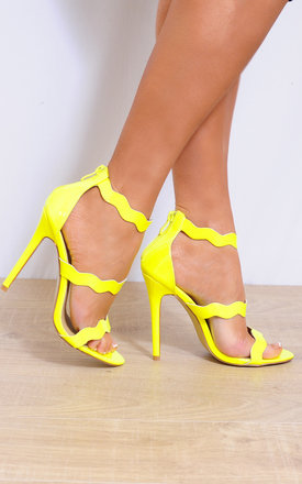 Yellow Barely There Curve Strappy Sandals Stilettos High Heels by Shoe Closet