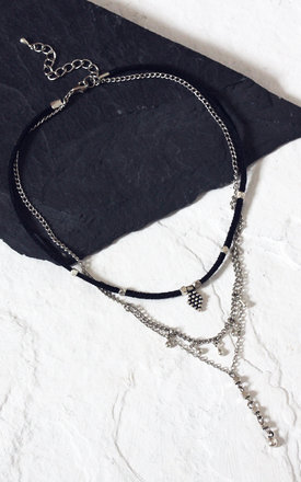 LILAH. Suede and Multi Chain Layering Necklace by Aluna Mae