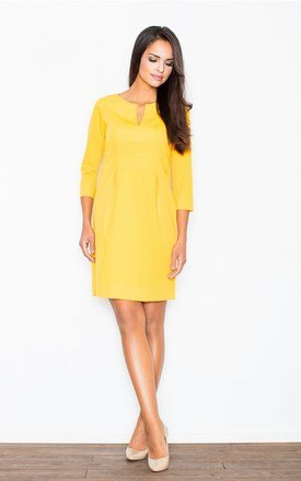 Yellow Dress with Ingenious Seams and Back Zipper Closure by FIGL