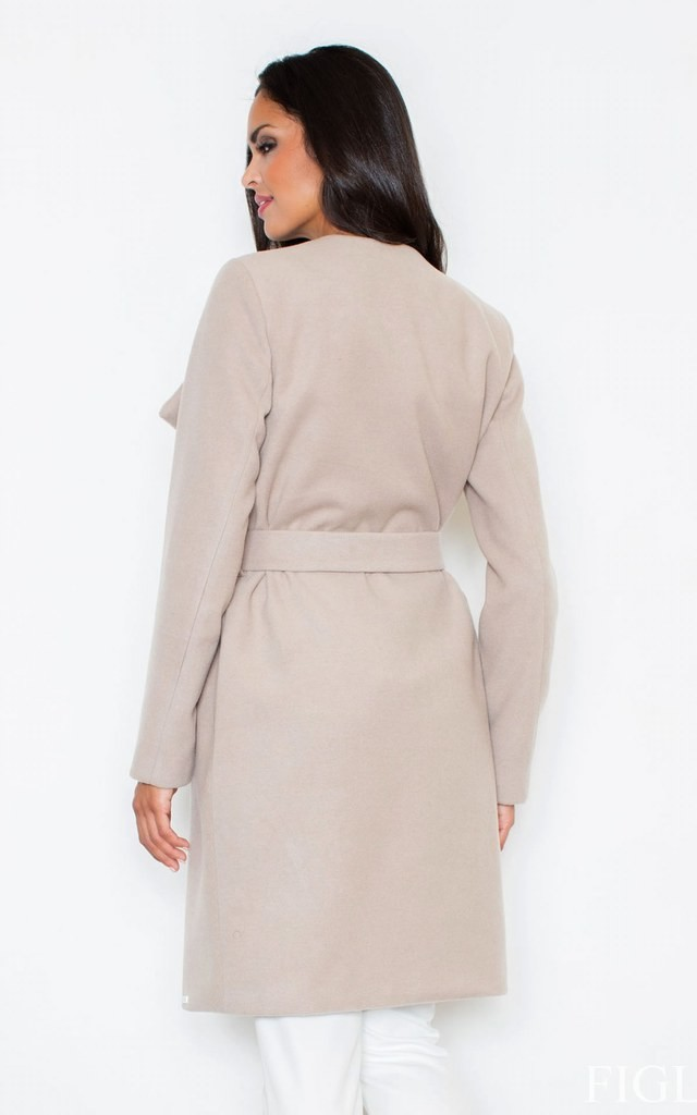 Beige Long Coat-Like Jacket Made of Scuba-Knit Fabric by FIGL