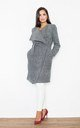Grey Long Coat-Like Jacket Made of Scuba-Knit Fabric by FIGL