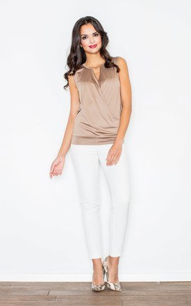 Beige Twist-front sleeveless Figl top with a deep front V-shaped cut by FIGL