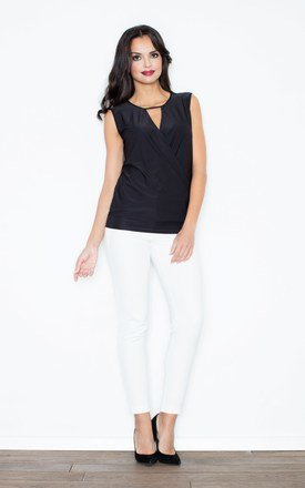 Black Twist-front sleeveless Figl top with a deep front V-shaped cut by FIGL