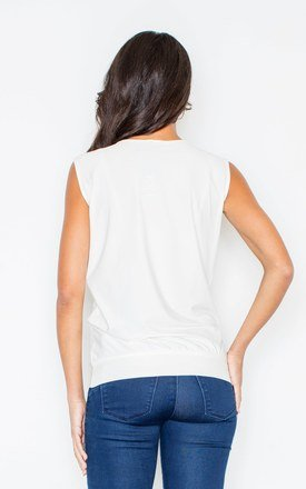 Sleeveless top with cut out detail in white by FIGL