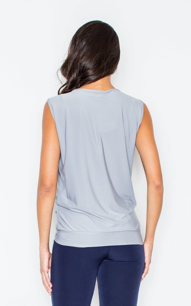 Grey Twist-front sleeveless Figl top with a deep front V-shaped cut by FIGL