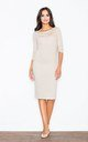 Midi Dress with 3/4 sleeve in cream/white stripe by FIGL