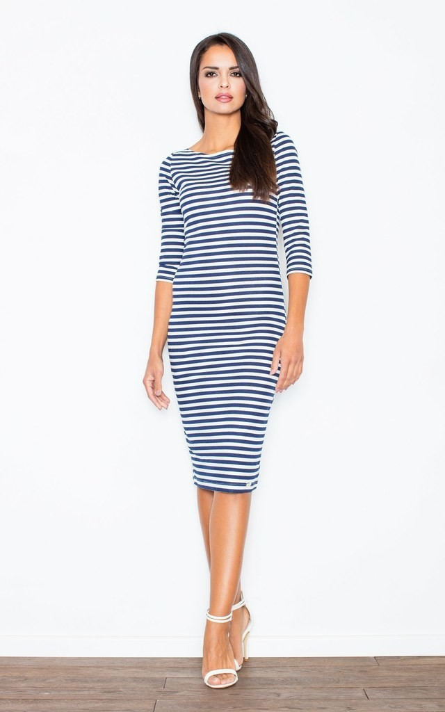Midi Dress with 3/4 sleeve in blue/white stripe by FIGL