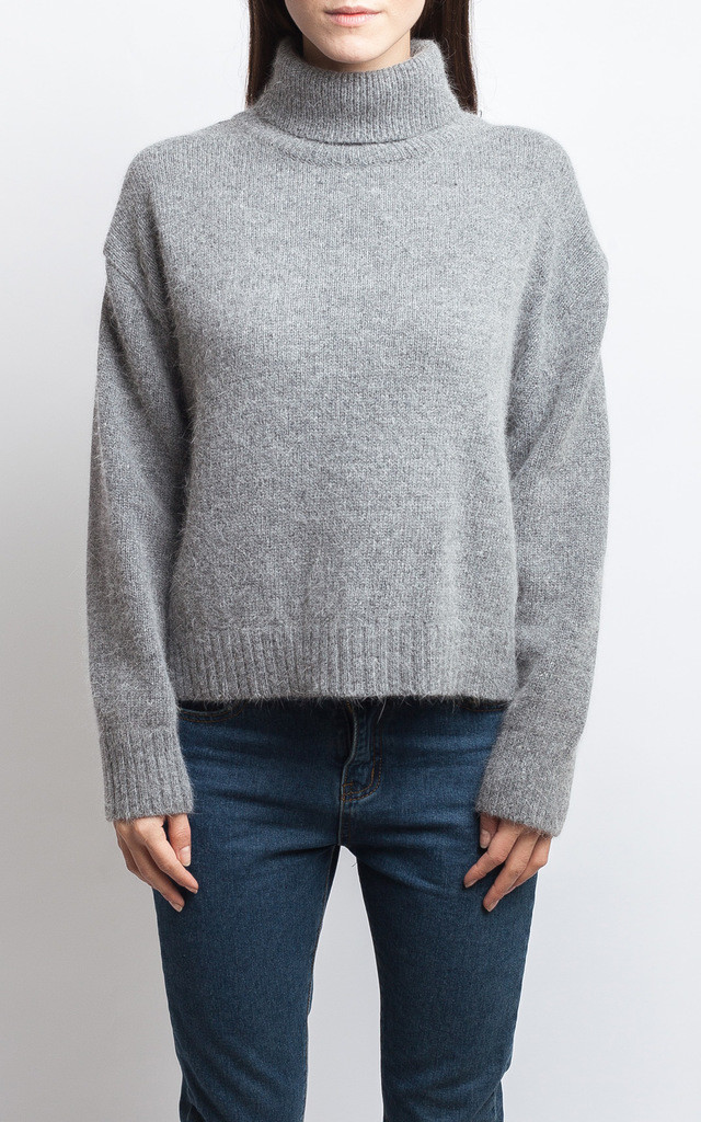 GREY KNITTED FUNNEL NECK JUMPER by SIVÖNNA